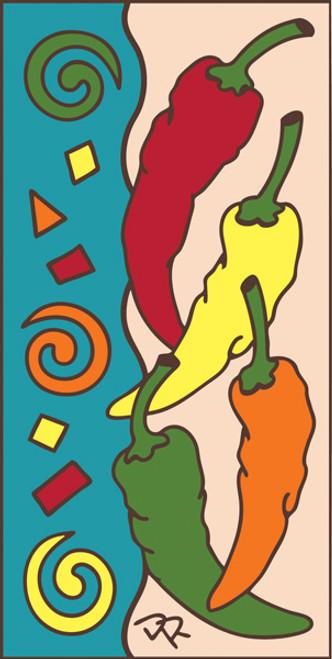 3x6 Tile Festive Chilis Sand 3016A