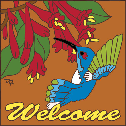 6x6 Tile Welcome Blue Humming Bird Terracotta 7697R