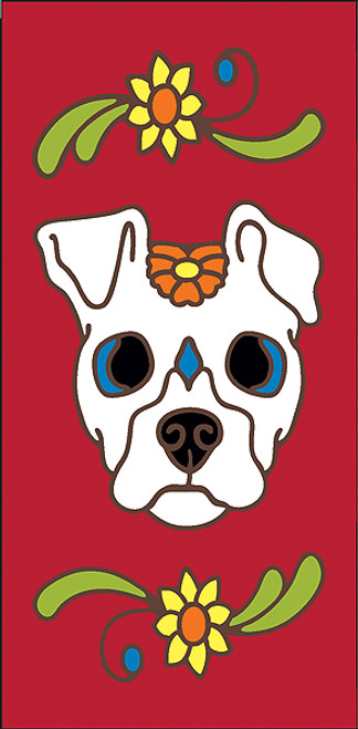 3x6 Tile Red Day of the Dead Dog Sugar Skull End