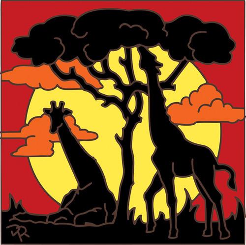 6x6 Tile Giraffe Sunset Silhouette 8055A