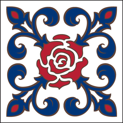 6x6 Tile Talavera Rose Fleur de lis White