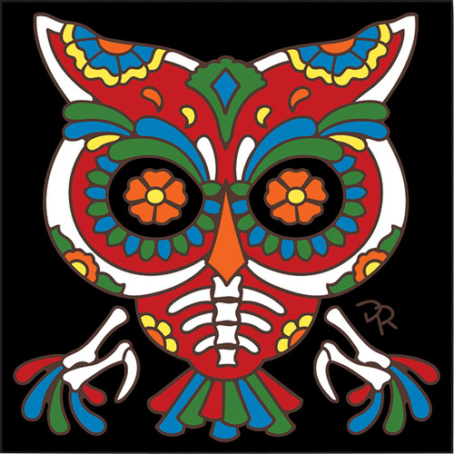 6x6 Tile Day of the Dead Owl 7975A