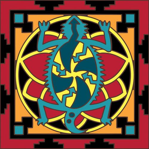 6x6 Tile Native American Horned Lizard