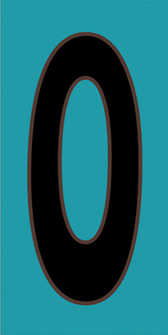 3x6 Tile House Number Turquoise #0