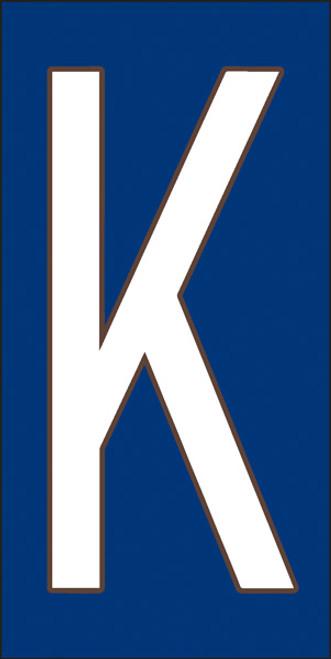 3x6 Tile House Letter K White on Cobalt