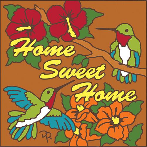 6X6 Tile Home Sweet Home Hummingbird Terracotta