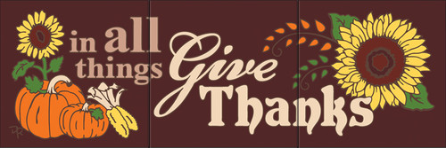 "6""x18"" Tile Sign In All Things Give Thanks"