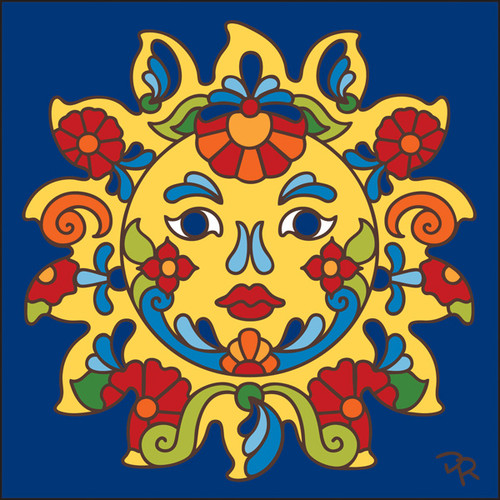 6x6 Tile Talavera Sunface/Cobalt 7828C