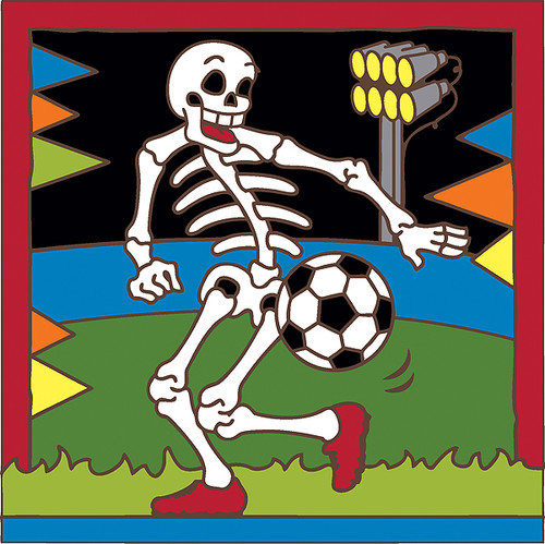 6x6 Tile Day of the Dead Soccer Player