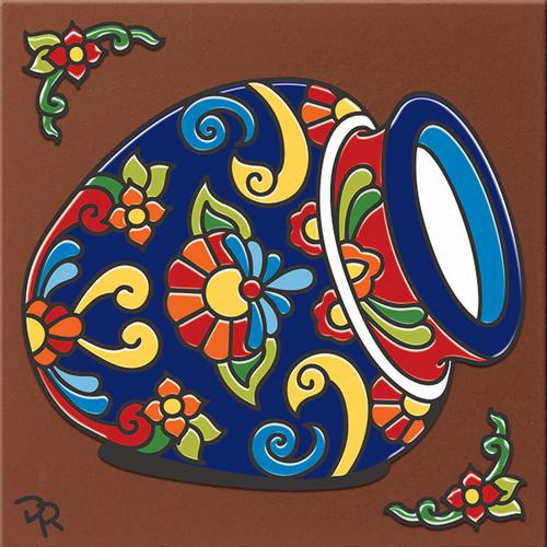 """6X6 Tile Talavera Pot """"Naturals"""""""