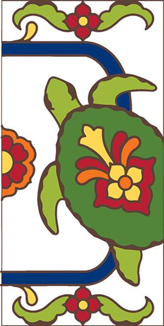 3x6 Tile White Talavera Turtle Right End