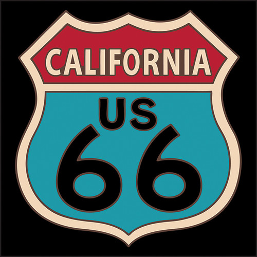 6x6 Tile Route 66 California Red and Turquoise