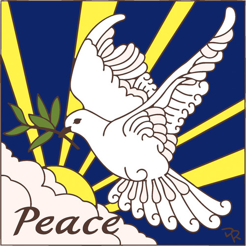6x6 Tile Peace Dove with Olive Branch