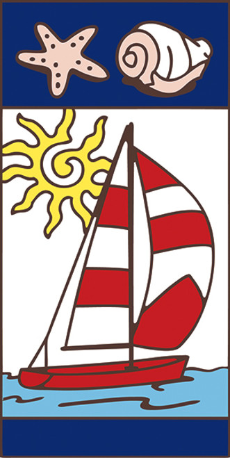 3x6 Tile Nautical Sail Boat Left