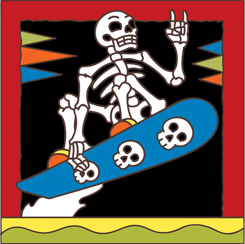 6x6 Tile Day of the Dead Snowboarder