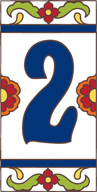 3x6 Tile House Number White Talavera #2