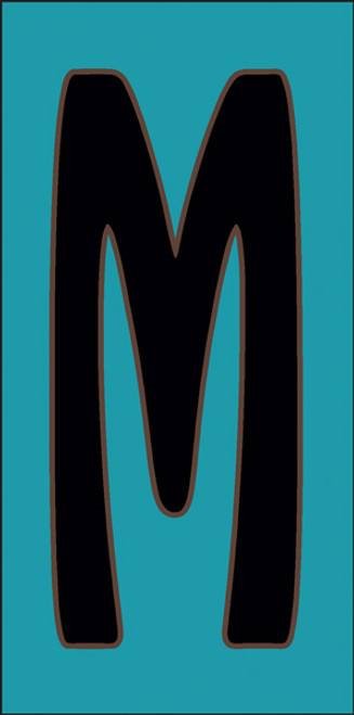 3x6 Tile House Letter M Turquoise