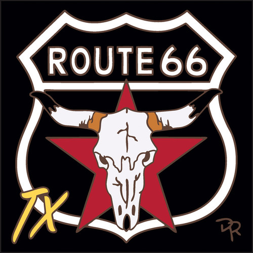 6x6 Tile Route 66 TX Longhorn Sign Black Background
