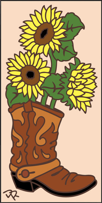 3x6 Tile Boot with Sunflowers Sand 3028A