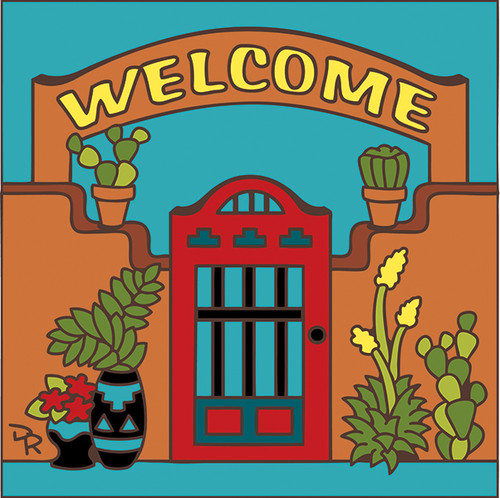 6x6 Tile Welcome Gate Turquoise 7701TQ