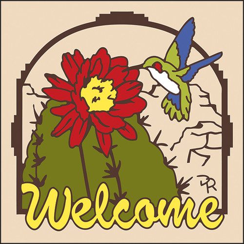 6x6 Tile Welcome Hummingbird Sand 7946A