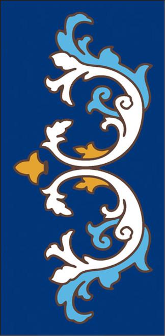3x6 Tile Ornate Scroll Border Cobalt