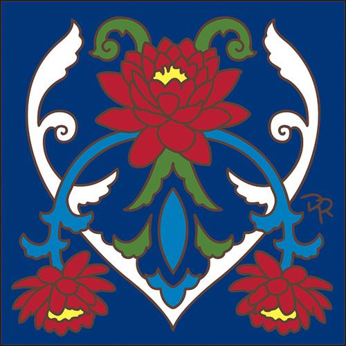 6x6 Tile Talavera Lotus/Cobalt 8286C