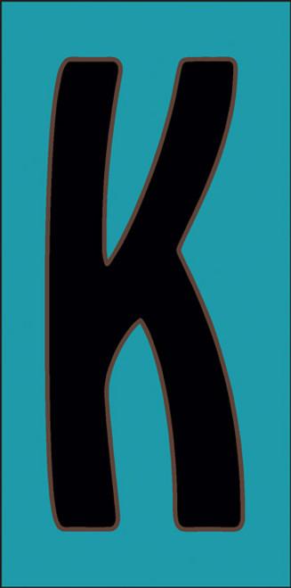 3x6 Tile House Letter K Turquoise