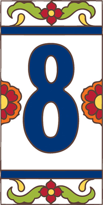 3x6 Tile House Number White Talavera #8