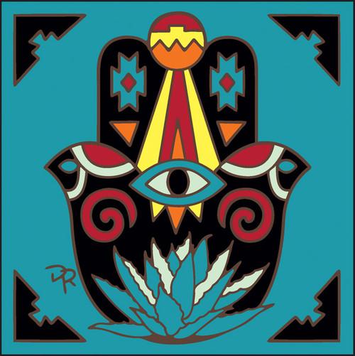 6x6 Tile Southwest Hamsa Hand Turquoise