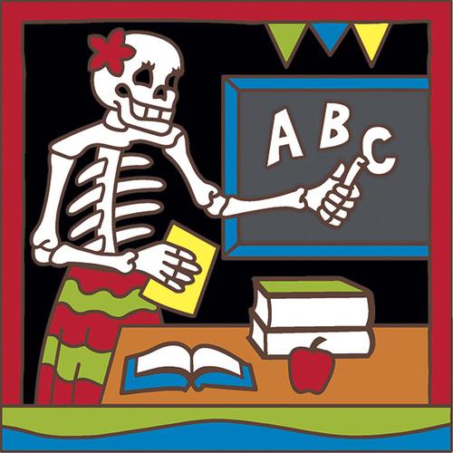 6x6 Tile Day of the Dead Teacher