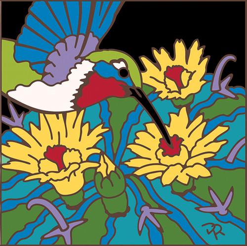 6x6 Tile Hummingbird and Barrel Cactus 8111A