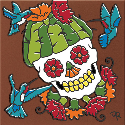 """6X6 Tile Day of the Dead Saguaro Head """"Naturals"""""""