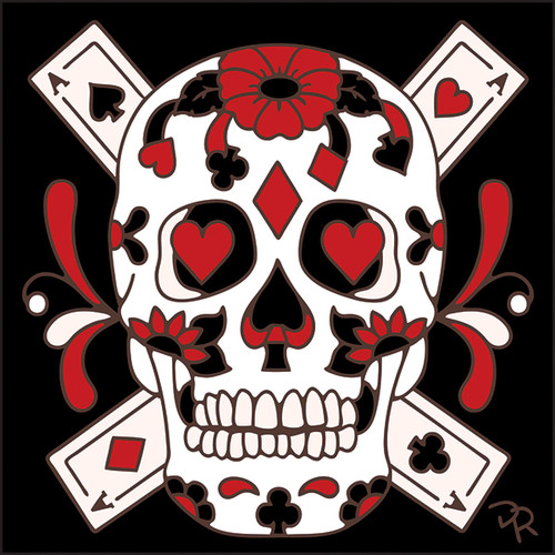 6x6 Tile Day of the Dead Card Suits Sugar Skull 7887A