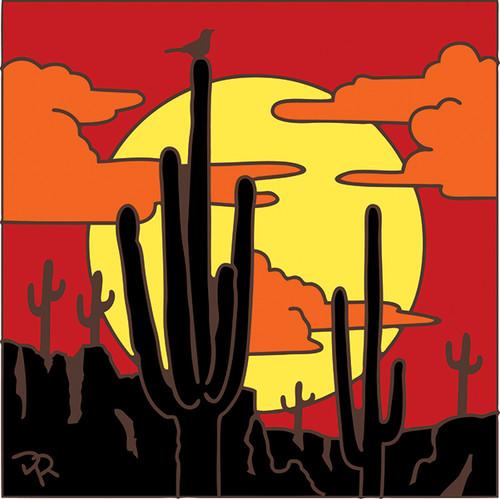 6x6 Tile Saguaros Sunset Silhouette 8049A