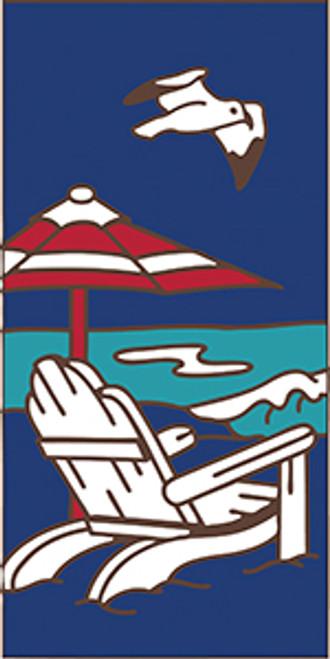 3x6 Tile Adirondack Beach Scene Cobalt