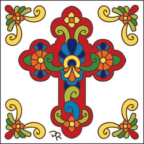 6x6 Tile Talavera Cross/White 7830W