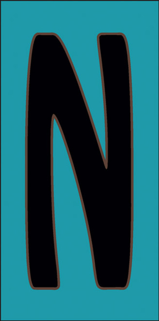 3x6 Tile House Letter N Turquoise