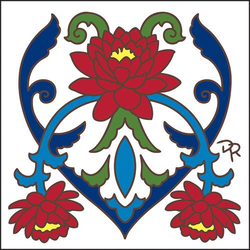 6x6 Tile Talavera Lotus/White 8286W
