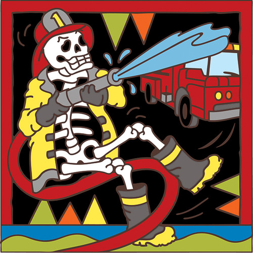 6x6 Tile Day of the Dead Firefighter 7790A