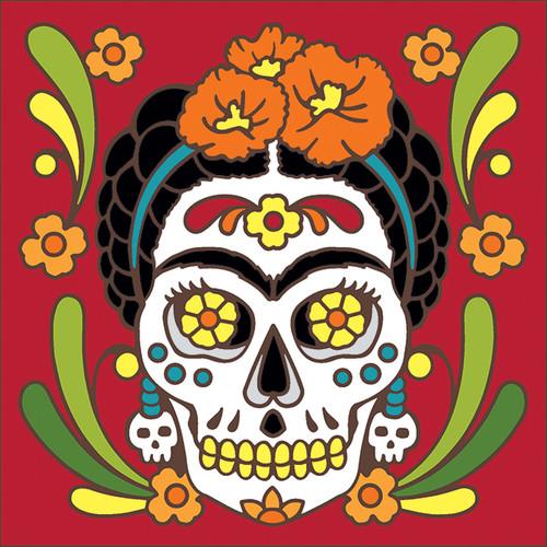 6x6 Tile Day of the Dead Frida Kahlo