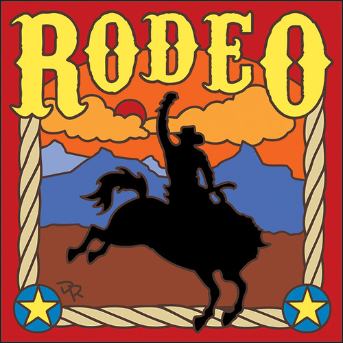 6x6 Tile Rodeo Sunset Bronc Rider