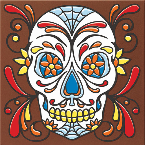 "6X6 Tile Day of the Dead Web Head ""Naturals"""