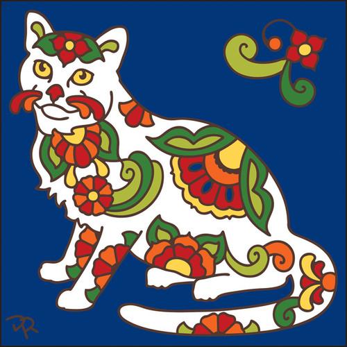 6x6 Tile Talavera Cat Cobalt 8012C