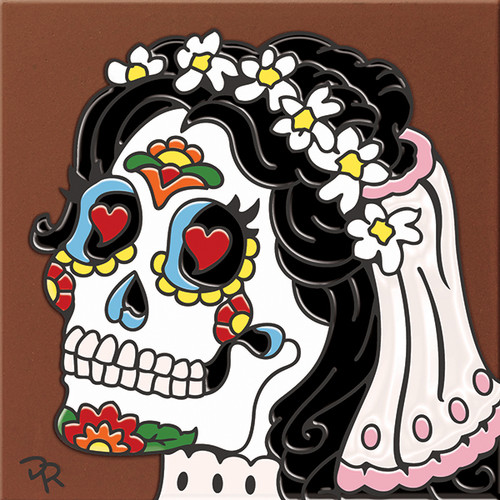 "6X6 Tile Day of the Dead Bride Sugar Skull ""Naturals"""