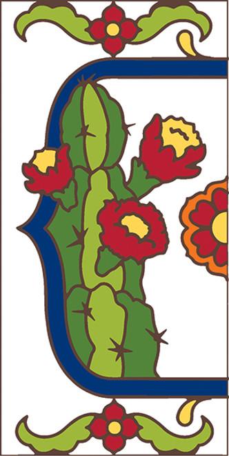 3x6 Tile House Number White Talevera Cactus Left End 3067AL