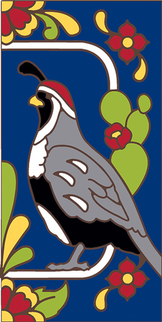 3x6 Tile House Number Cobalt Talavera Quail Right 3070AR