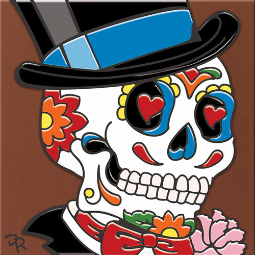 """6X6 Tile Day of the Dead GroomSugar Skull """"Naturals"""""""