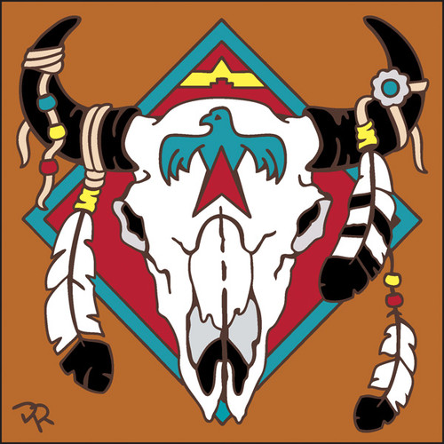 6x6 Tile Native American Steer Skull