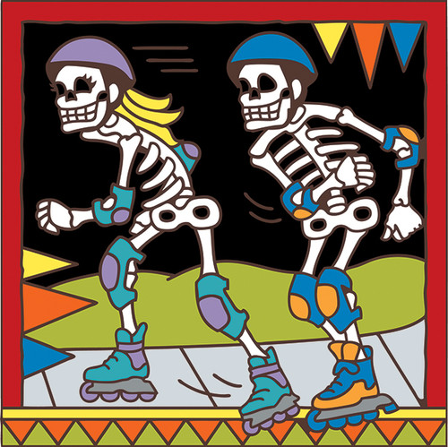 6x6 Tile Day of the Dead Rollerbladers7565A